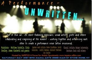 Unwritten - Announcement for multi-media improv event.