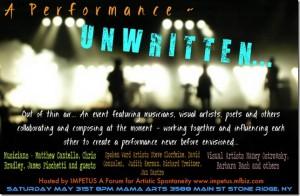 Unwritten - Announcement for multi-media improv event.